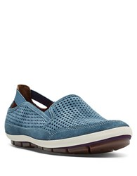 Cobb Hill Tara Perforated Suede Slip On Sneakers Blue