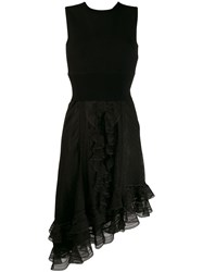 Alexander Mcqueen Asymmetrical Draped Knit Dress Black
