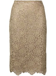 Valentino Floral Embroidered Mesh Skirt Gold