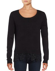 Lord And Taylor Petite Crocheted Hem Sweater Black
