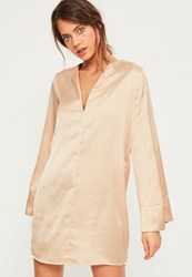 Missguided Nude Satin V Neck Oversized Cuff Dress