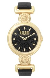 Versus By Versace Sunnyridge Leather Strap Watch 34Mm Black Gold