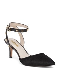 Louise Et Cie Gitana Leather And Dyed Calf Hair Stingray Studded Pumps Black
