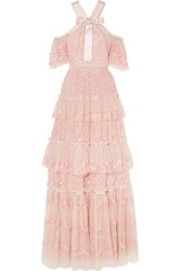 Needle And Thread Primrose Cold Shoulder Ruffled Embroidered Tulle Gown Blush Gbp