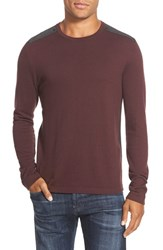 Men's John Varvatos Star Usa Contrast Patch Crewneck Sweater Cherrywood