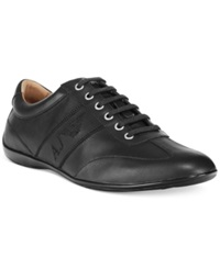 Armani Jeans Low Profile Leather Sneakers Men's Shoes Black