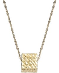 Macy's Floating Hammered Cube Pendant Necklace In 10K Gold