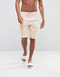 Asos Boardie Swim Shorts With Camo Print Pink