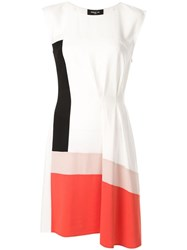 Paule Ka Colour Block Flared Dress White