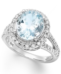 Macy's 14K White Gold Ring Aquamarine 3 1 4 Ct. T.W. And Diamond 1 2 Ct. T.W. Oval Ring Blue