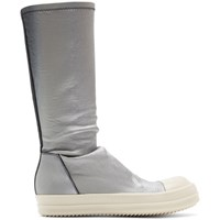 Rick Owens Black And Silver Degrade Stretch Sock Sneakers