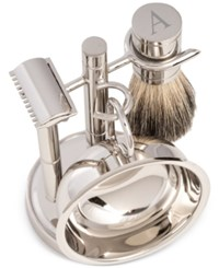 Bey Berk Men's Chrome Monogrammed Safety Razor And Brush Set