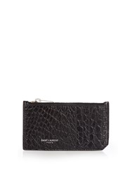 Saint Laurent Crocodile Effect Leather Cardholder Black