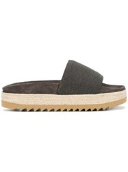 Brunello Cucinelli Studded Strap Slides Grey