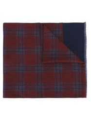 Corneliani Plaid Raw Edge Scarf Blue