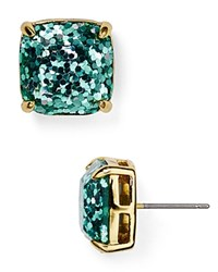 Kate Spade New York Small Square Glitter Stud Earrings Turquoise