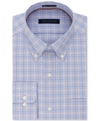 Tommy Hilfiger Men's Classic Regular Fit Non Iron Blue Check Dress Shirt Quartz