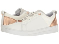 Ted Baker Kulei White Rose Gold Leather Pu Women's Lace Up Casual Shoes