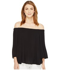 Vince Camuto Three Quarter Sleeve Pleated Off Shoulder Blouse Rich Black Women's Blouse