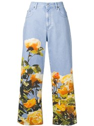 Msgm Printed Cropped Jeans Blue