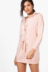 Boohoo Lace Up Front Sweat Dress Peach