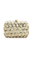 Santi Imitation Pearl Studded Box Clutch Gold