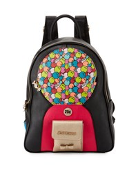 Betsey Johnson Bubble Gum Faux Leather Backpack Black Mult