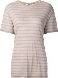 Alexander Wang T By Striped Shortsleeved T Shirt Pink And Purple