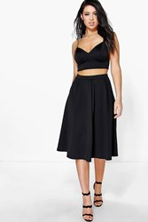 Boohoo Strappy Top And Full Midi Skirt Co Ord Set Black