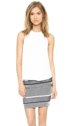 Alexander Wang Raw Edge Flow Top With Leather Trim White