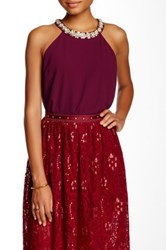 Soieblu Beaded Trim Blouse Red