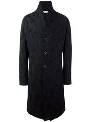 Individual Sentiments Jacquard Single Breasted Coat Black