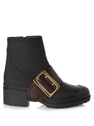 Burberry Whitchester Rubberised Leather Ankle Boots Black