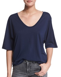 Helmut Lang Wide Sleeve Scoop Neck Tee Indigo