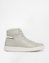 Ymc Leather High Top Trainers Grey