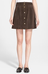 Frame Denim 'Le Paneled' Suede Miniskirt Dark Brown