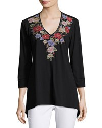 Johnny Was 3 4 Sleeve Embroidered Tunic Black