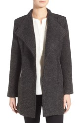 Women's Matty M Fuzzy Asymmetrical Zip Fit And Flare Coat Charcoal