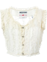 Moschino Vintage Lace Frill Waistcoat White