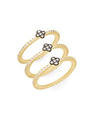 Freida Rothman 14K Yellow Gold Vermeil And Sterling Silver Stacked Clover Ring Set