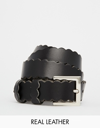 Black And Brown Scallop Edge Leather Belt
