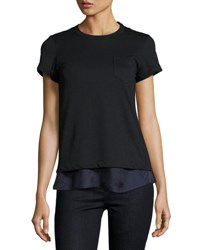 Sacai Short Sleeve Lace Tee W Satin Underlay Black