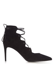 Saint Laurent Paris Lace Up Suede Pumps Black