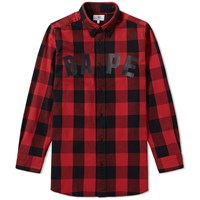 A Bathing Ape Buffalo Check Long Shirt Red