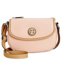 Giani Bernini Saffiano Top Zip Mini Saddle Bag Only At Macy's Pastel Rose