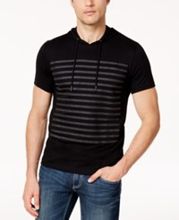 Inc International Concepts Men's Striped Short Sleeve Hoodie Created For Macy's Deep Black