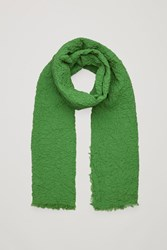 Cos Crinkled Stretch Cotton Scarf Green