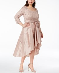 R And M Richards Plus Size Sequined Lace High Low Gown Blush