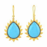 Meghna Jewels Flame Earrings Turquoise And Diamonds Blue Gold