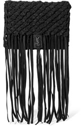 Saint Laurent Fringed Woven Suede Clutch Black
